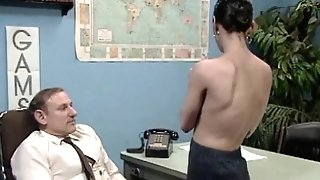 Old manager at desk job getting a blow-job