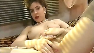 from the early 90s: french cutie plays with crimson fake penis