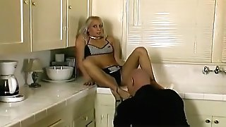 Sexy Blonde Bimbo Bangs A Ultra-kinky Stud In The Kitchen