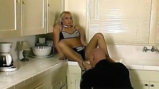 Sexy Blonde Bimbo Bangs A Ultra-kinky Stud In The Kitchen