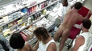 Two Dark haired Gang-fucked in Supah Market !