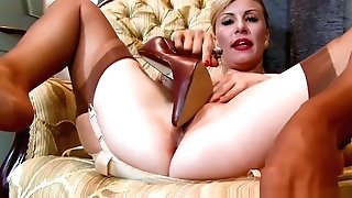 Sexy Blonde Saffy Fucks Vagina With Stilettos In Antique Nylons And Undergarments